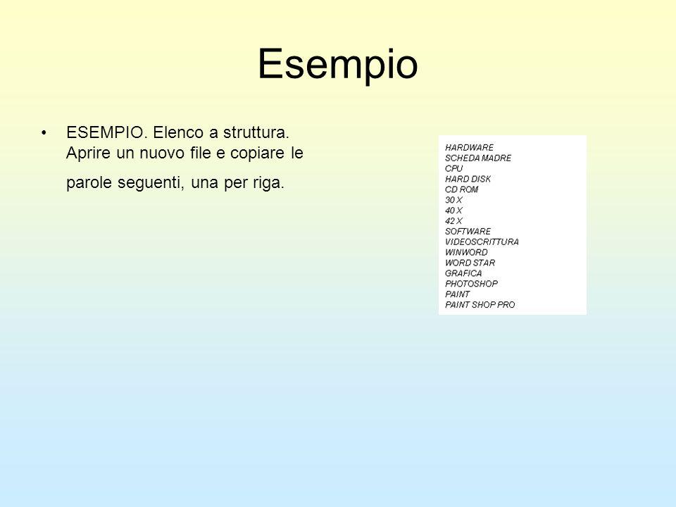 Esempio ESEMPIO. Elenco a struttura. Aprire un nuovo file e copiare le parole seguenti, una per riga.