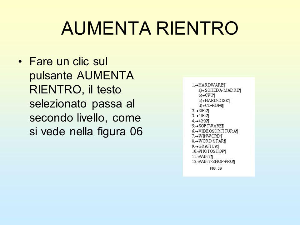 AUMENTA RIENTRO Fare un clic sul pulsante AUMENTA RIENTRO, il testo selezionato passa al secondo livello, come si vede nella figura 06