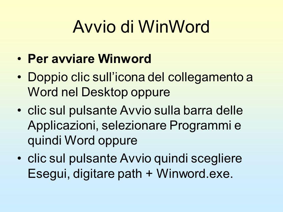 Avvio di WinWord Per avviare Winword Doppio clic sullicona del collegamento a Word nel Desktop oppure clic sul pulsante Avvio sulla barra delle Applic