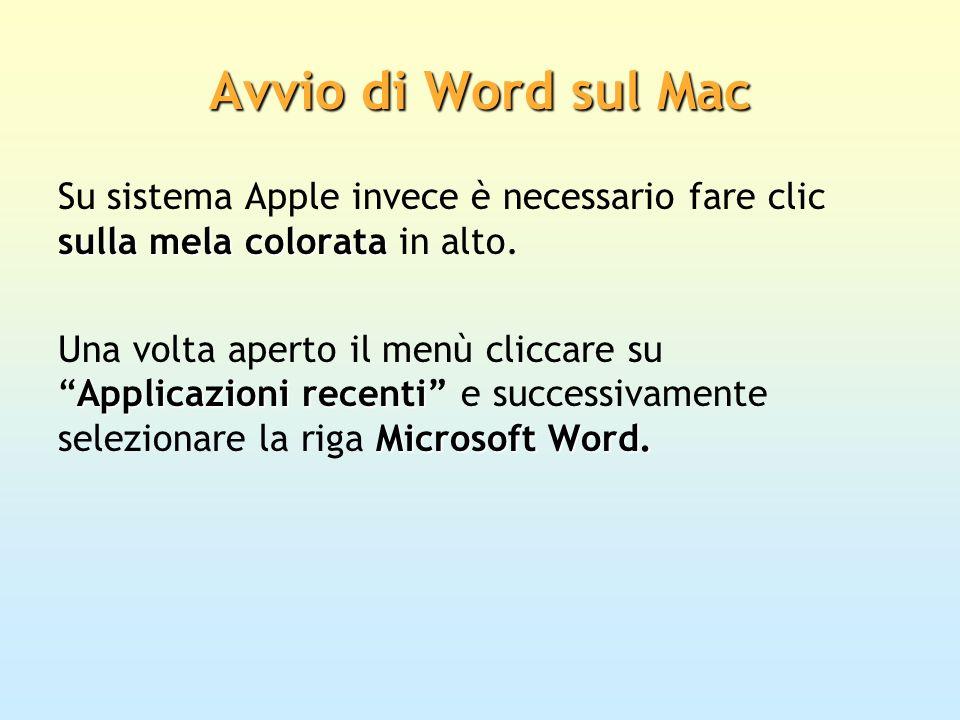 Avvio di Word sul Mac sulla mela colorata Su sistema Apple invece è necessario fare clic sulla mela colorata in alto. Applicazioni recenti Microsoft W