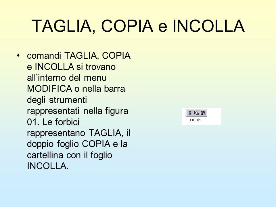TAGLIA, COPIA e INCOLLA comandi TAGLIA, COPIA e INCOLLA si trovano allinterno del menu MODIFICA o nella barra degli strumenti rappresentati nella figu
