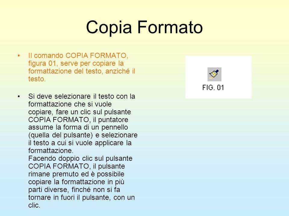 Copia Formato Il comando COPIA FORMATO, figura 01, serve per copiare la formattazione del testo, anziché il testo. Si deve selezionare il testo con la