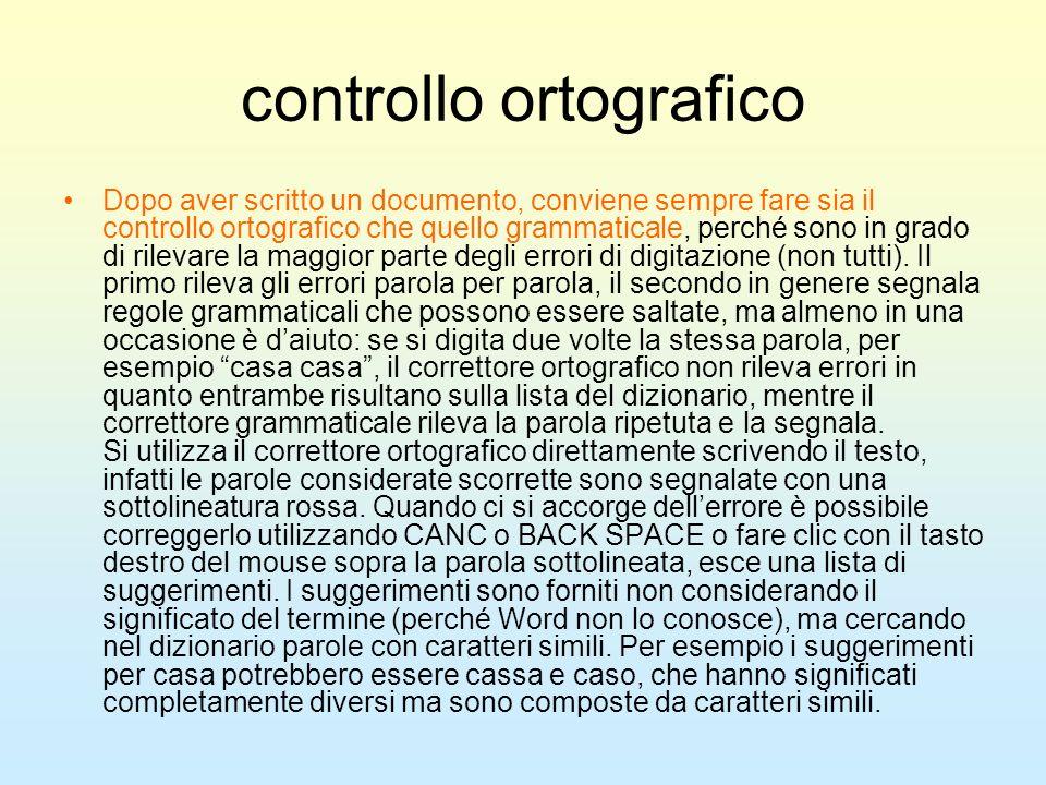 controllo ortografico Dopo aver scritto un documento, conviene sempre fare sia il controllo ortografico che quello grammaticale, perché sono in grado