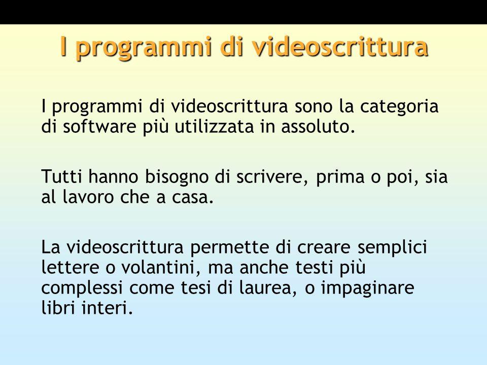 I programmi di videoscrittura I programmi di videoscrittura sono la categoria di software più utilizzata in assoluto. Tutti hanno bisogno di scrivere,