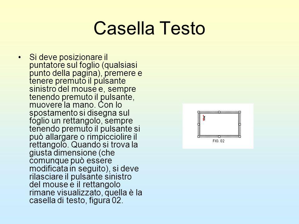Casella Testo Si deve posizionare il puntatore sul foglio (qualsiasi punto della pagina), premere e tenere premuto il pulsante sinistro del mouse e, s