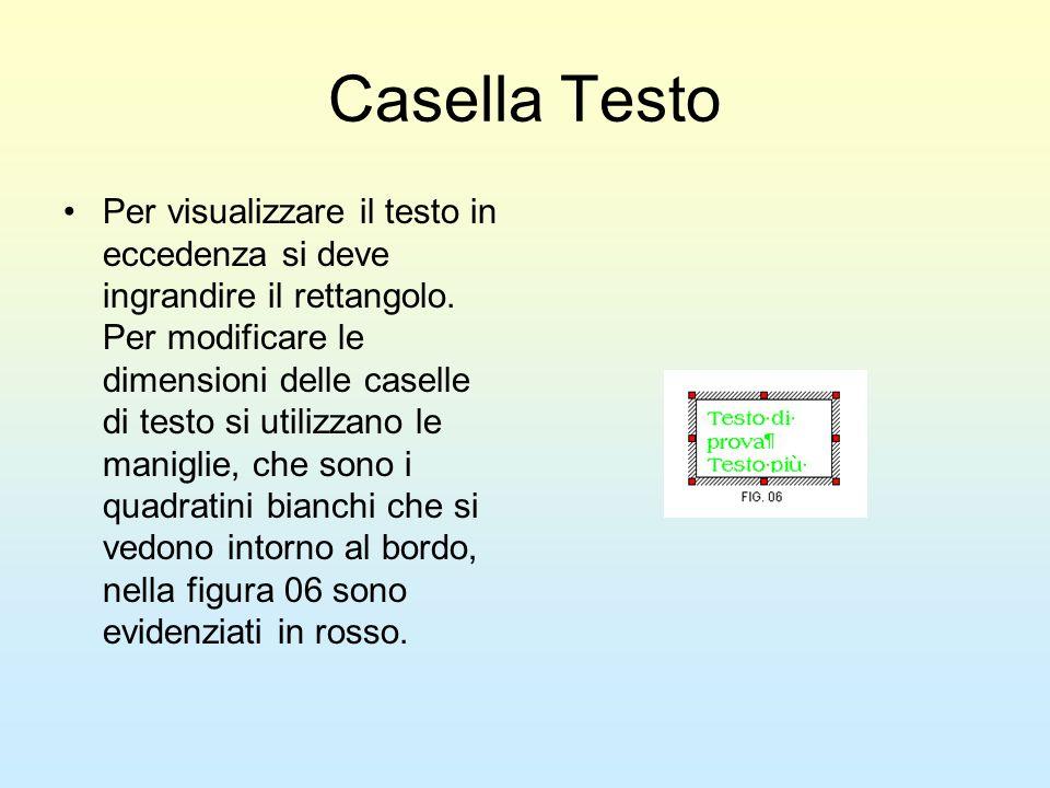 Casella Testo Per visualizzare il testo in eccedenza si deve ingrandire il rettangolo. Per modificare le dimensioni delle caselle di testo si utilizza