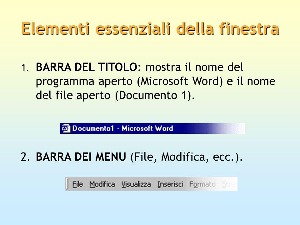 BARRA DEL TITOLO 1. BARRA DEL TITOLO: mostra il nome del programma aperto (Microsoft Word) e il nome del file aperto (Documento 1). BARRA DEI MENU 2.B