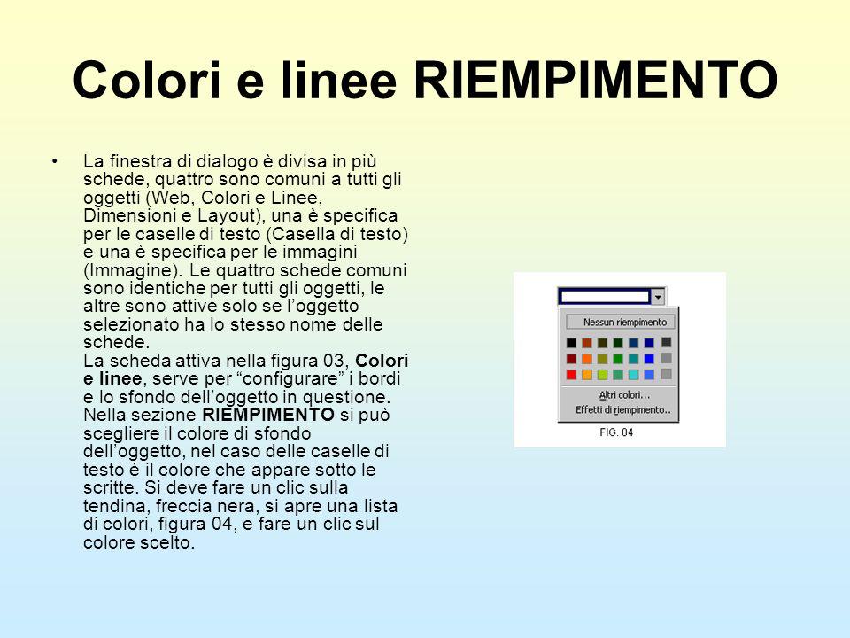 Colori e linee RIEMPIMENTO La finestra di dialogo è divisa in più schede, quattro sono comuni a tutti gli oggetti (Web, Colori e Linee, Dimensioni e L