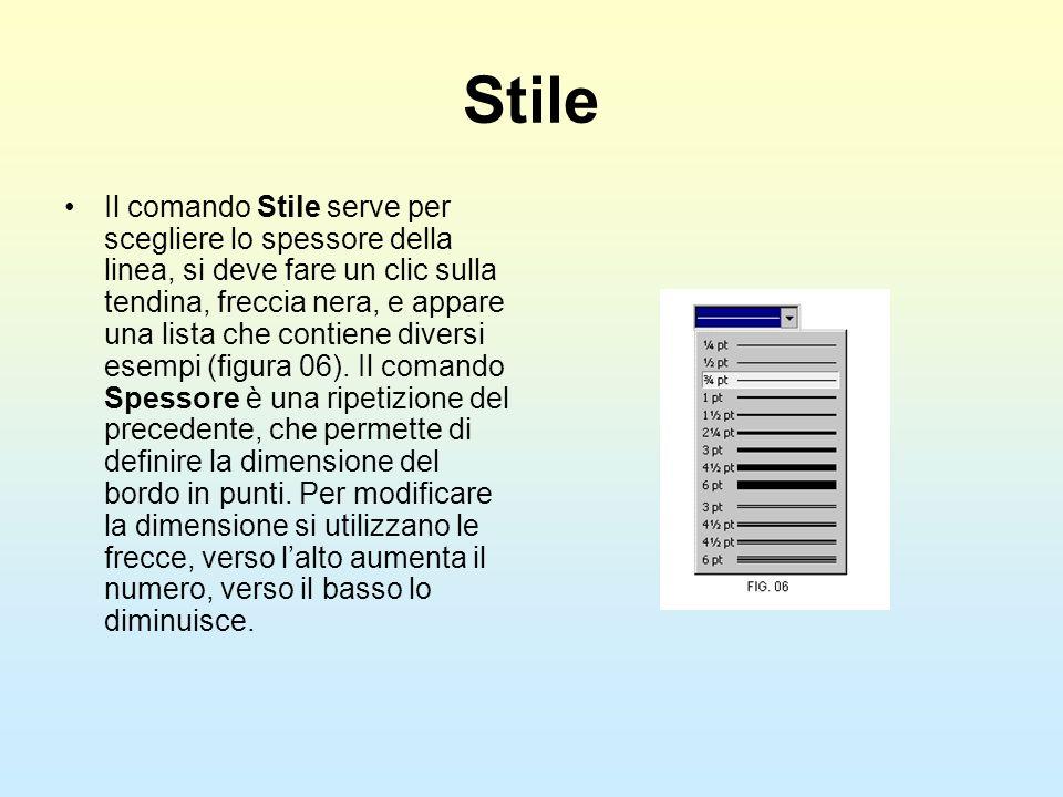 Stile Il comando Stile serve per scegliere lo spessore della linea, si deve fare un clic sulla tendina, freccia nera, e appare una lista che contiene