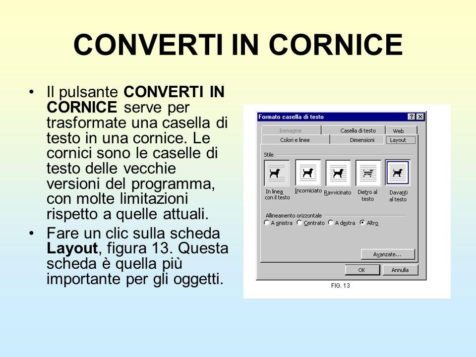 CONVERTI IN CORNICE Il pulsante CONVERTI IN CORNICE serve per trasformate una casella di testo in una cornice. Le cornici sono le caselle di testo del