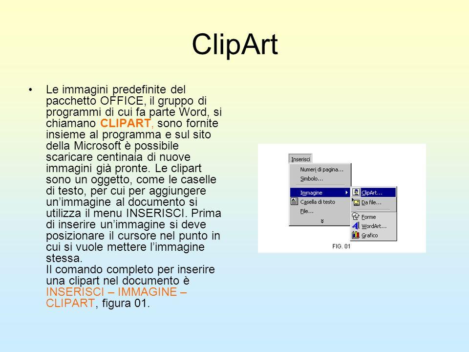 ClipArt Le immagini predefinite del pacchetto OFFICE, il gruppo di programmi di cui fa parte Word, si chiamano CLIPART, sono fornite insieme al progra