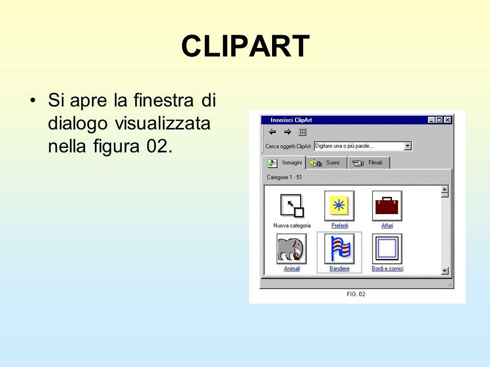 CLIPART Si apre la finestra di dialogo visualizzata nella figura 02.