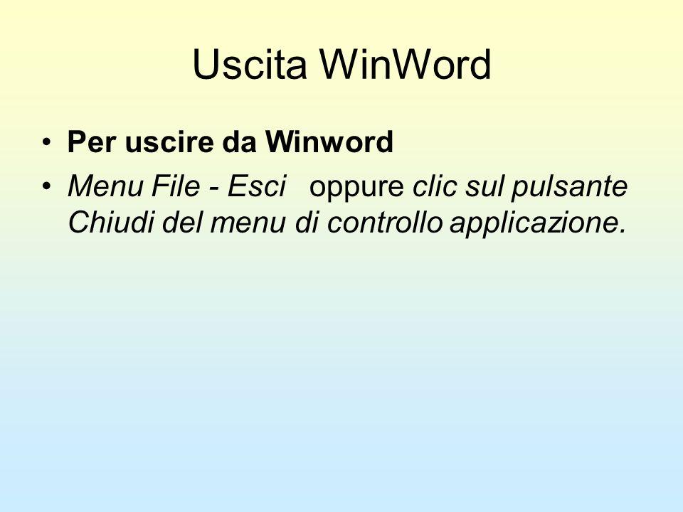 Uscita WinWord Per uscire da Winword Menu File - Esci oppure clic sul pulsante Chiudi del menu di controllo applicazione.