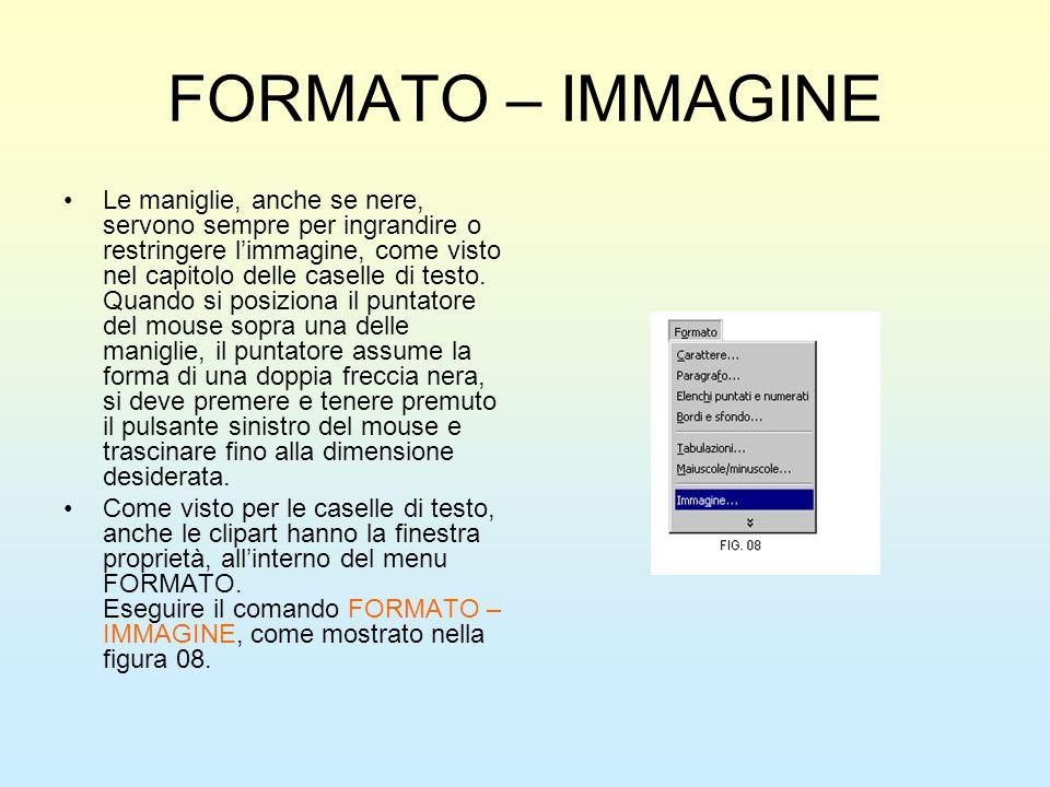 FORMATO – IMMAGINE Le maniglie, anche se nere, servono sempre per ingrandire o restringere limmagine, come visto nel capitolo delle caselle di testo.