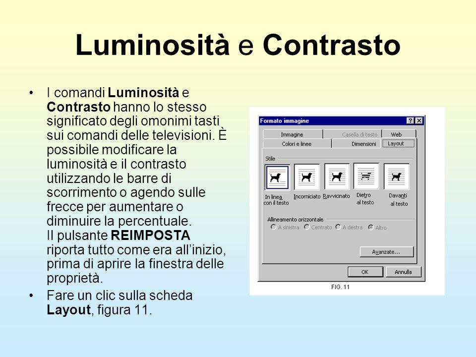 Luminosità e Contrasto I comandi Luminosità e Contrasto hanno lo stesso significato degli omonimi tasti sui comandi delle televisioni. È possibile mod