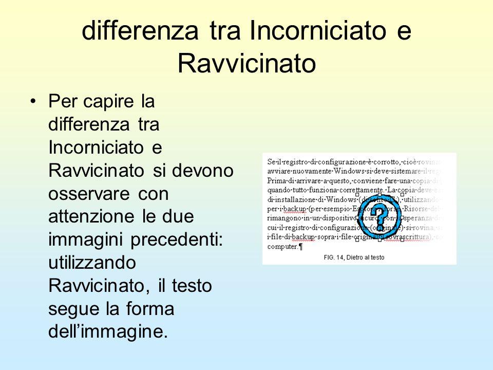 differenza tra Incorniciato e Ravvicinato Per capire la differenza tra Incorniciato e Ravvicinato si devono osservare con attenzione le due immagini p