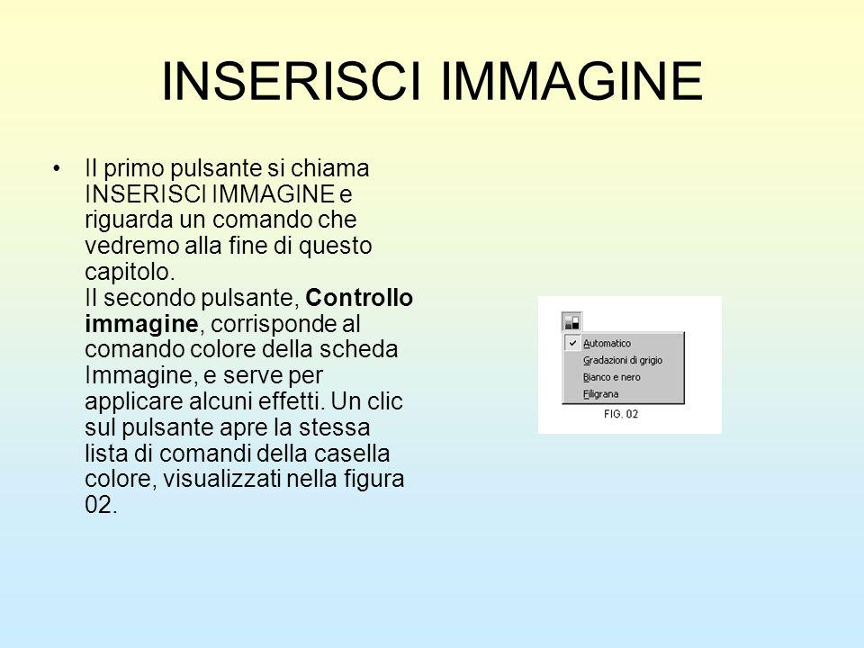 INSERISCI IMMAGINE Il primo pulsante si chiama INSERISCI IMMAGINE e riguarda un comando che vedremo alla fine di questo capitolo. Il secondo pulsante,