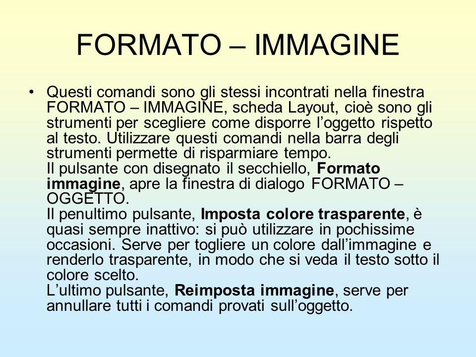 FORMATO – IMMAGINE Questi comandi sono gli stessi incontrati nella finestra FORMATO – IMMAGINE, scheda Layout, cioè sono gli strumenti per scegliere c