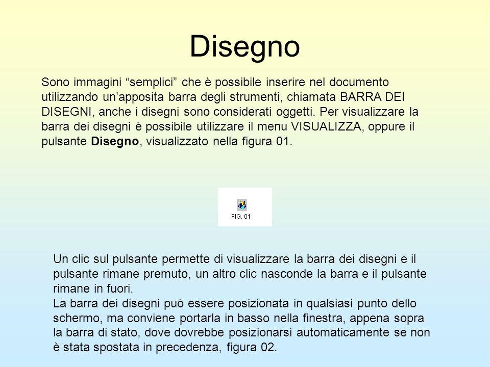 Disegno Sono immagini semplici che è possibile inserire nel documento utilizzando unapposita barra degli strumenti, chiamata BARRA DEI DISEGNI, anche
