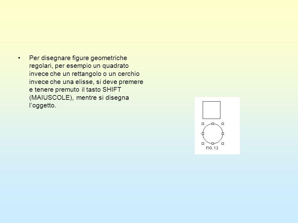 Per disegnare figure geometriche regolari, per esempio un quadrato invece che un rettangolo o un cerchio invece che una elisse, si deve premere e tene