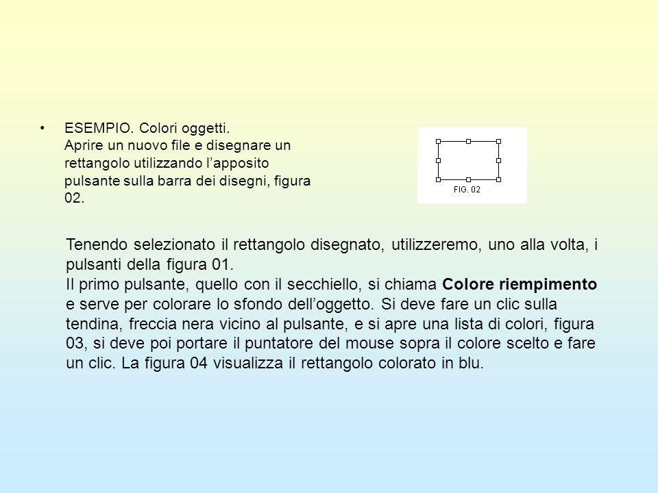 ESEMPIO. Colori oggetti. Aprire un nuovo file e disegnare un rettangolo utilizzando lapposito pulsante sulla barra dei disegni, figura 02. Tenendo sel