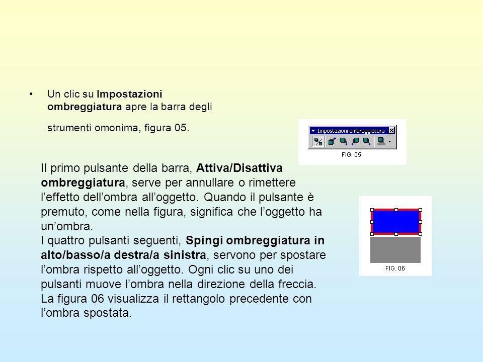 Un clic su Impostazioni ombreggiatura apre la barra degli strumenti omonima, figura 05. Il primo pulsante della barra, Attiva/Disattiva ombreggiatura,