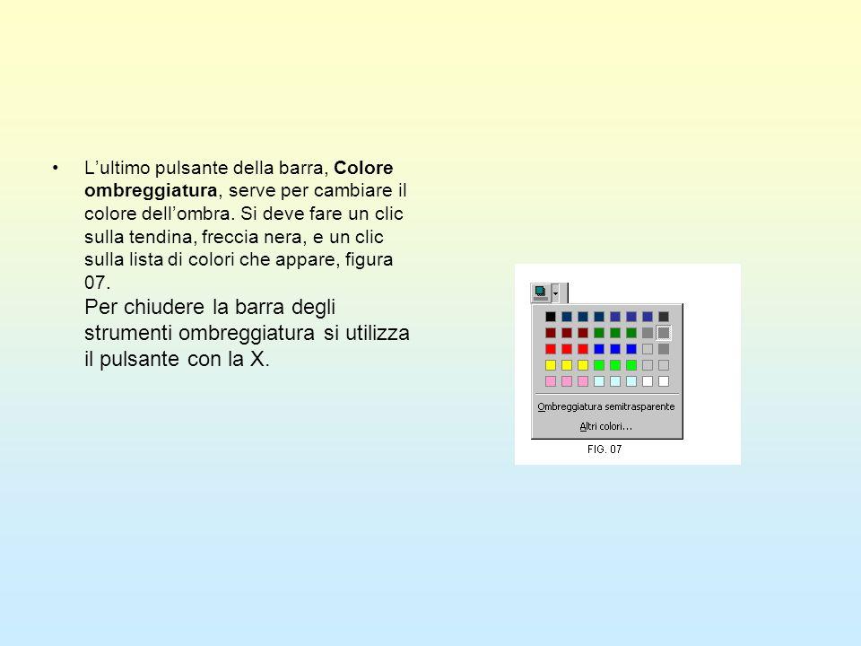 Lultimo pulsante della barra, Colore ombreggiatura, serve per cambiare il colore dellombra. Si deve fare un clic sulla tendina, freccia nera, e un cli