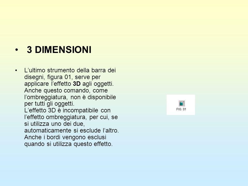3 DIMENSIONI Lultimo strumento della barra dei disegni, figura 01, serve per applicare leffetto 3D agli oggetti. Anche questo comando, come lombreggia