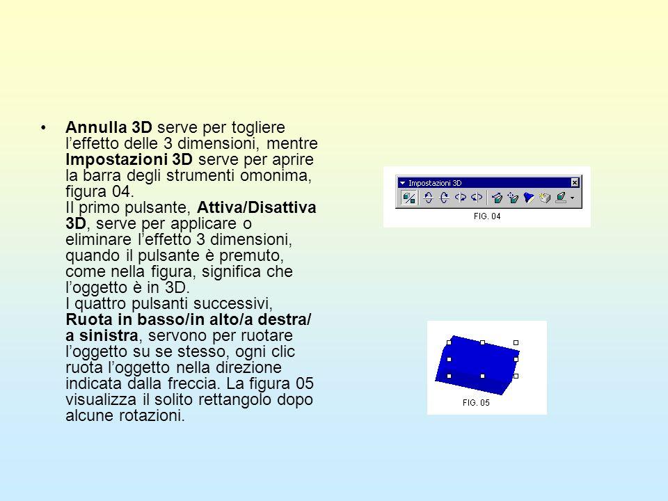 Annulla 3D serve per togliere leffetto delle 3 dimensioni, mentre Impostazioni 3D serve per aprire la barra degli strumenti omonima, figura 04. Il pri