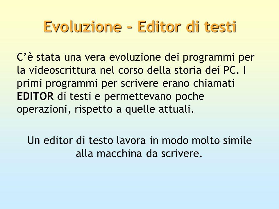 Evoluzione – Editor di testi EDITOR Cè stata una vera evoluzione dei programmi per la videoscrittura nel corso della storia dei PC. I primi programmi