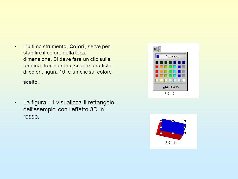 Lultimo strumento, Colori, serve per stabilire il colore della terza dimensione. Si deve fare un clic sulla tendina, freccia nera, si apre una lista d
