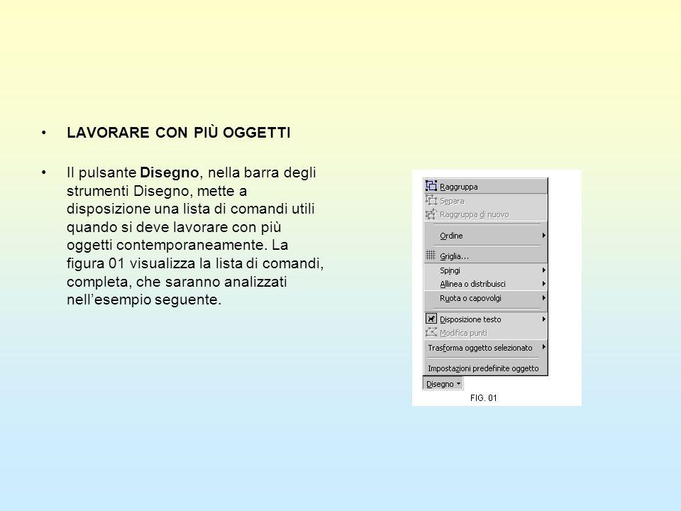 LAVORARE CON PIÙ OGGETTI Il pulsante Disegno, nella barra degli strumenti Disegno, mette a disposizione una lista di comandi utili quando si deve lavo