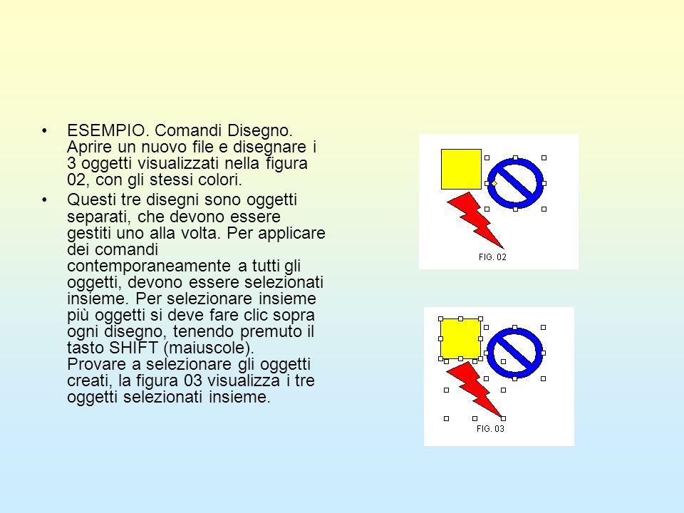 ESEMPIO. Comandi Disegno. Aprire un nuovo file e disegnare i 3 oggetti visualizzati nella figura 02, con gli stessi colori. Questi tre disegni sono og