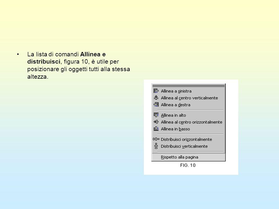 La lista di comandi Allinea e distribuisci, figura 10, è utile per posizionare gli oggetti tutti alla stessa altezza.