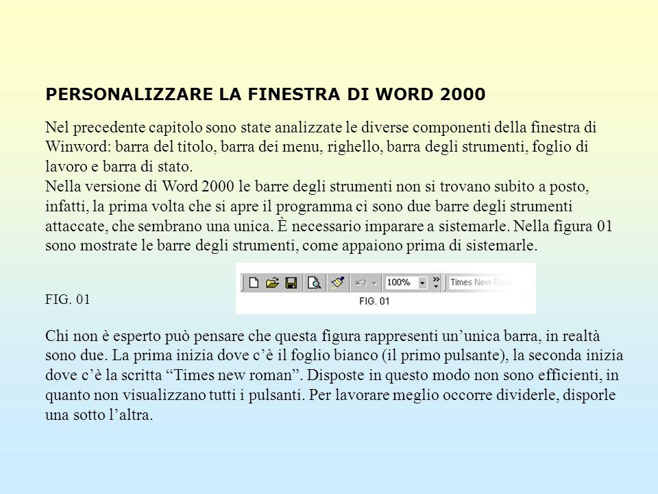 PERSONALIZZARE LA FINESTRA DI WORD 2000 Nel precedente capitolo sono state analizzate le diverse componenti della finestra di Winword: barra del titol