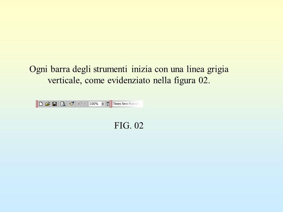 Ogni barra degli strumenti inizia con una linea grigia verticale, come evidenziato nella figura 02. FIG. 02