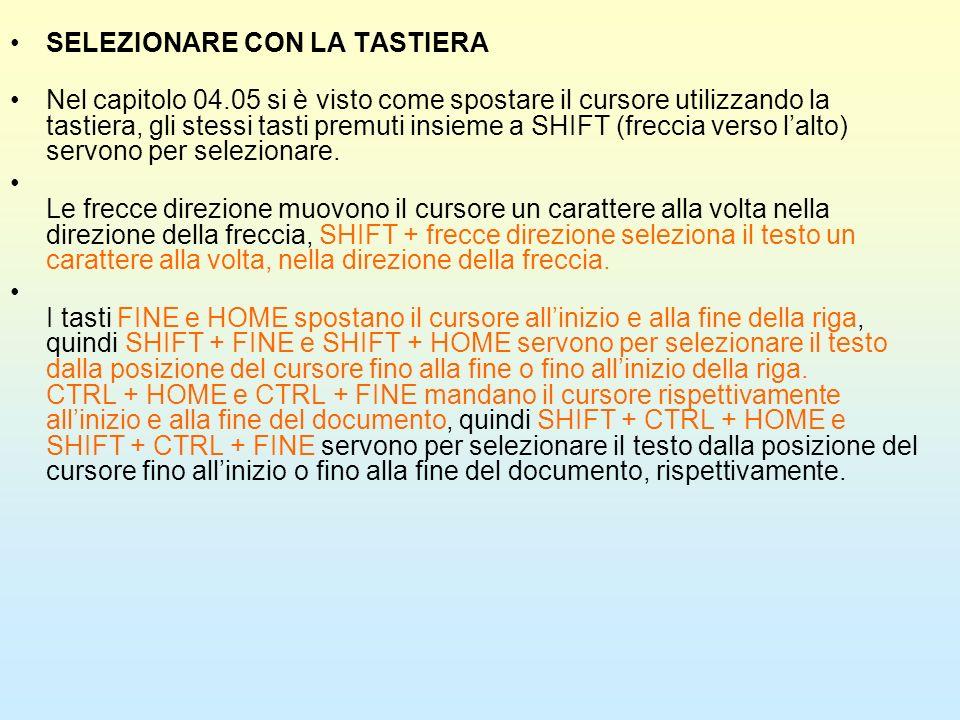 SELEZIONARE CON LA TASTIERA Nel capitolo 04.05 si è visto come spostare il cursore utilizzando la tastiera, gli stessi tasti premuti insieme a SHIFT (