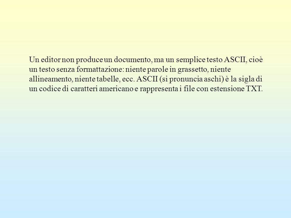 Un editor non produce un documento, ma un semplice testo ASCII, cioè un testo senza formattazione: niente parole in grassetto, niente allineamento, ni