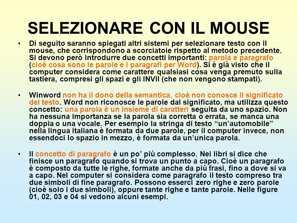 SELEZIONARE CON IL MOUSE Di seguito saranno spiegati altri sistemi per selezionare testo con il mouse, che corrispondono a scorciatoie rispetto al met