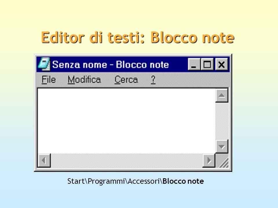 Editor di documenti: WordPad Start\Programmi\Accessori\WordPad Il sistema operativo Windows include al proprio interno il programma di videoscrittura WordPad, dotato delle funzionalità di base comuni a tutte le applicazioni di questo tipo