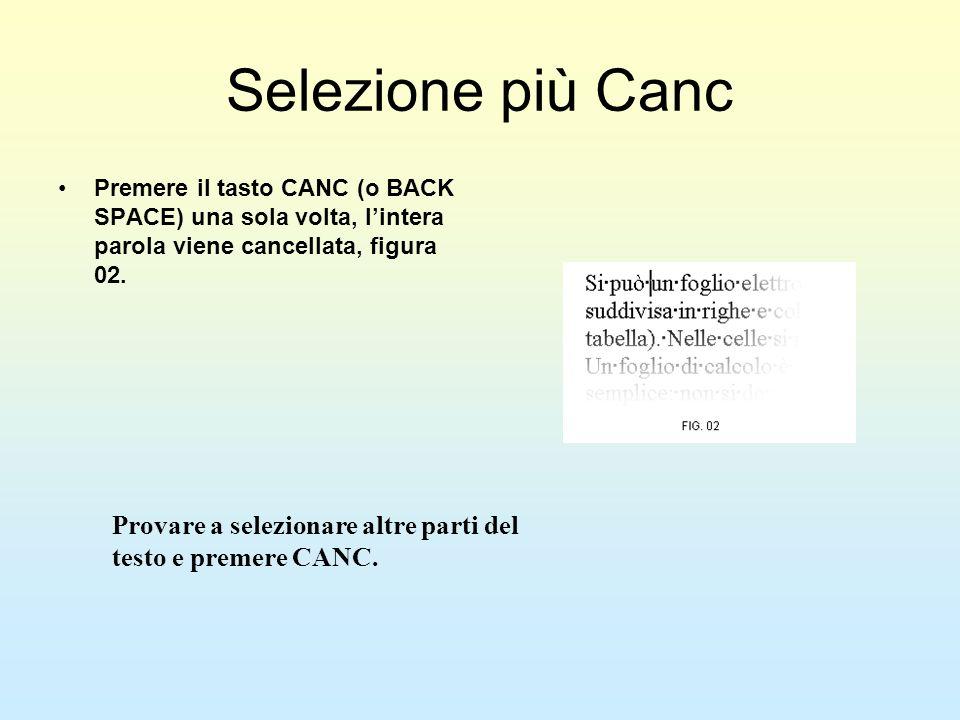 Selezione più Canc Premere il tasto CANC (o BACK SPACE) una sola volta, lintera parola viene cancellata, figura 02. Provare a selezionare altre parti