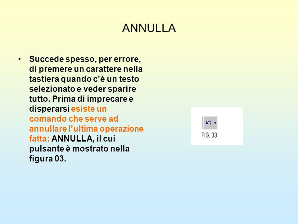 ANNULLA Succede spesso, per errore, di premere un carattere nella tastiera quando cè un testo selezionato e veder sparire tutto. Prima di imprecare e