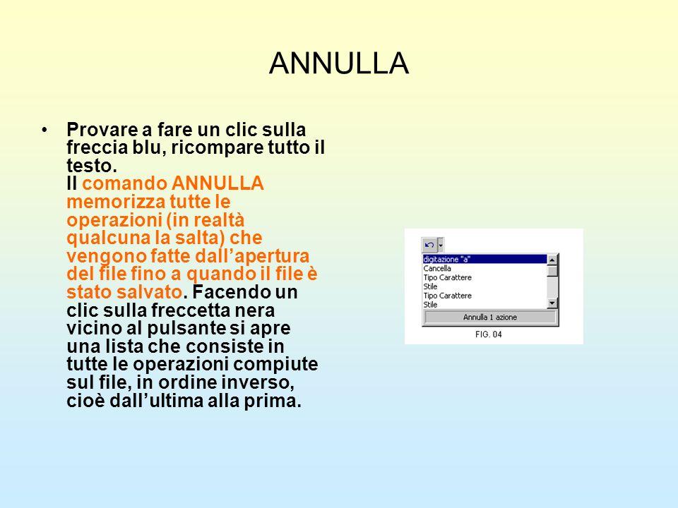 ANNULLA Provare a fare un clic sulla freccia blu, ricompare tutto il testo. Il comando ANNULLA memorizza tutte le operazioni (in realtà qualcuna la sa