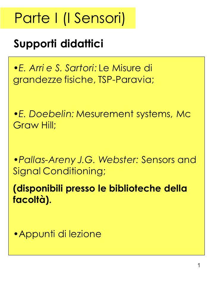 1 Parte I (I Sensori) E. Arri e S. Sartori: Le Misure di grandezze fisiche, TSP-Paravia; E. Doebelin: Mesurement systems, Mc Graw Hill; Pallas-Areny J