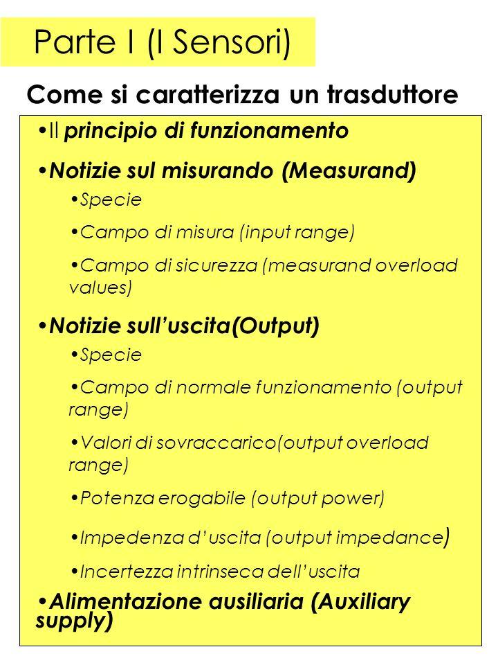 Parte I (I Sensori) Il principio di funzionamento Notizie sul misurando (Measurand) Specie Campo di misura (input range) Campo di sicurezza (measurand