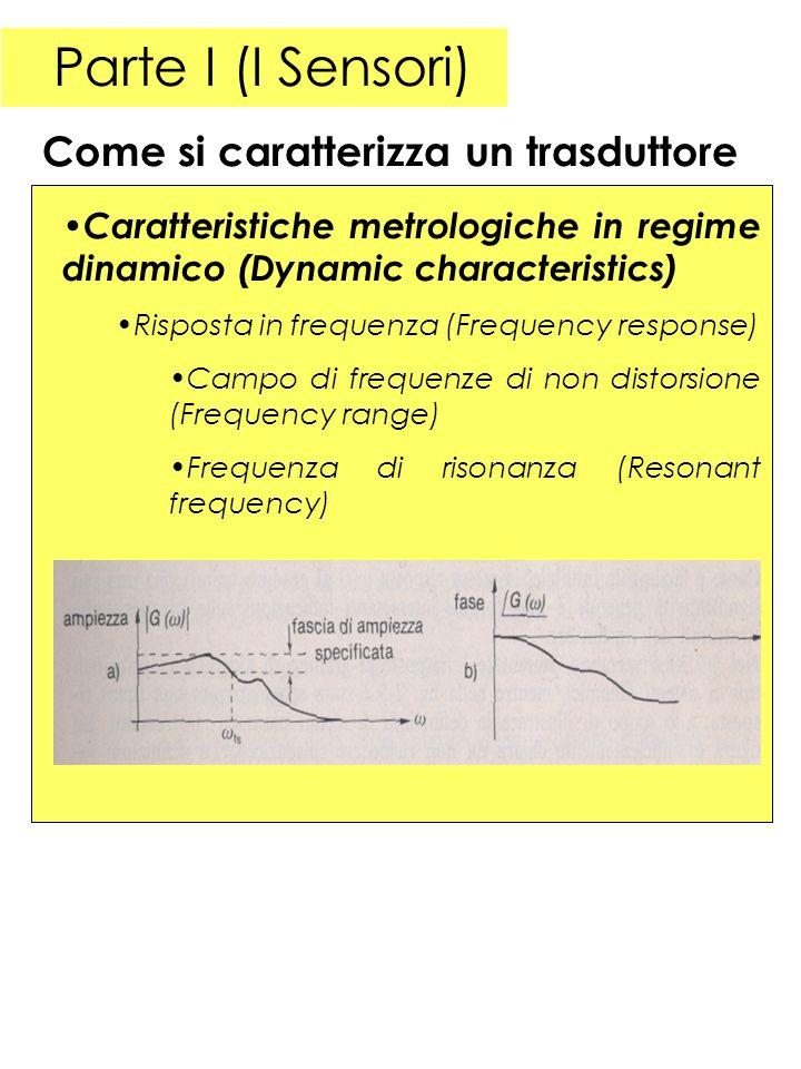 Parte I (I Sensori) Caratteristiche metrologiche in regime dinamico (Dynamic characteristics) Risposta in frequenza (Frequency response) Campo di freq