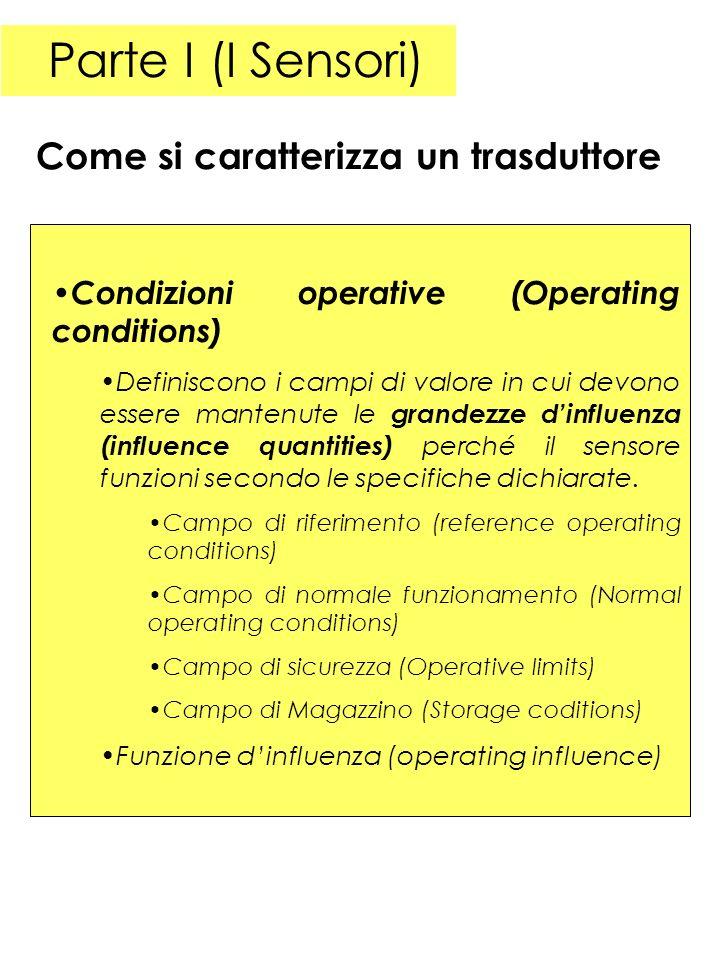 Parte I (I Sensori) Condizioni operative (Operating conditions) Definiscono i campi di valore in cui devono essere mantenute le grandezze dinfluenza (