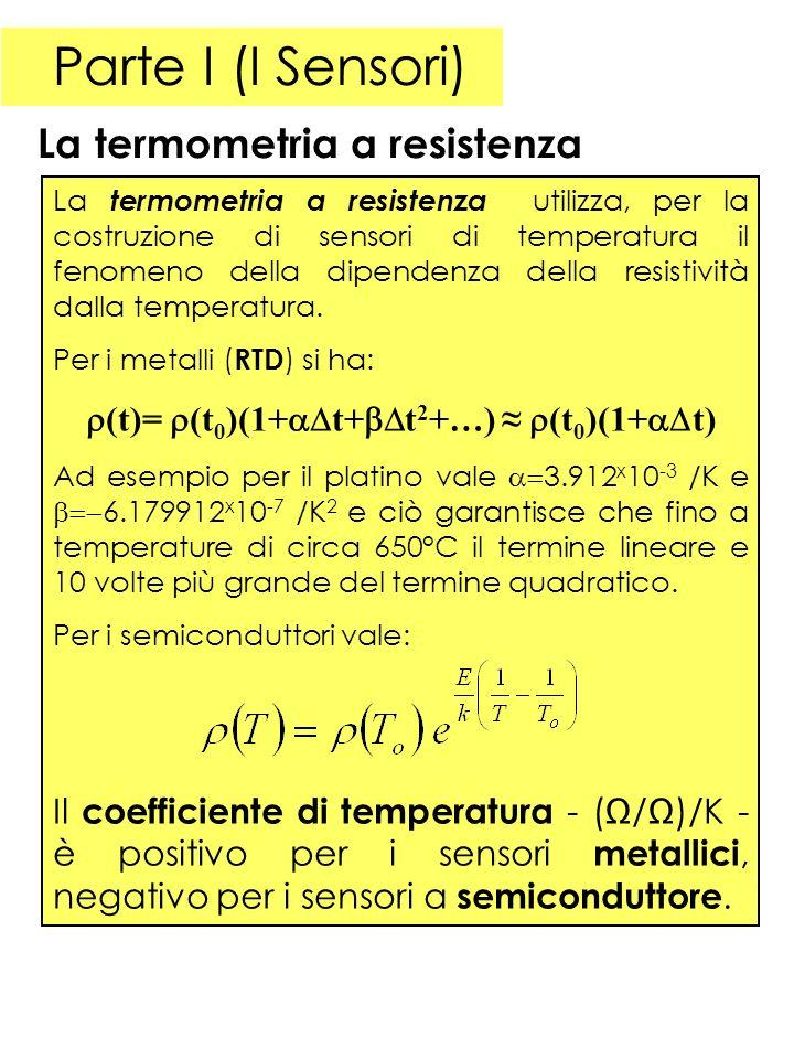 Parte I (I Sensori) La termometria a resistenza La termometria a resistenza utilizza, per la costruzione di sensori di temperatura il fenomeno della dipendenza della resistività dalla temperatura.