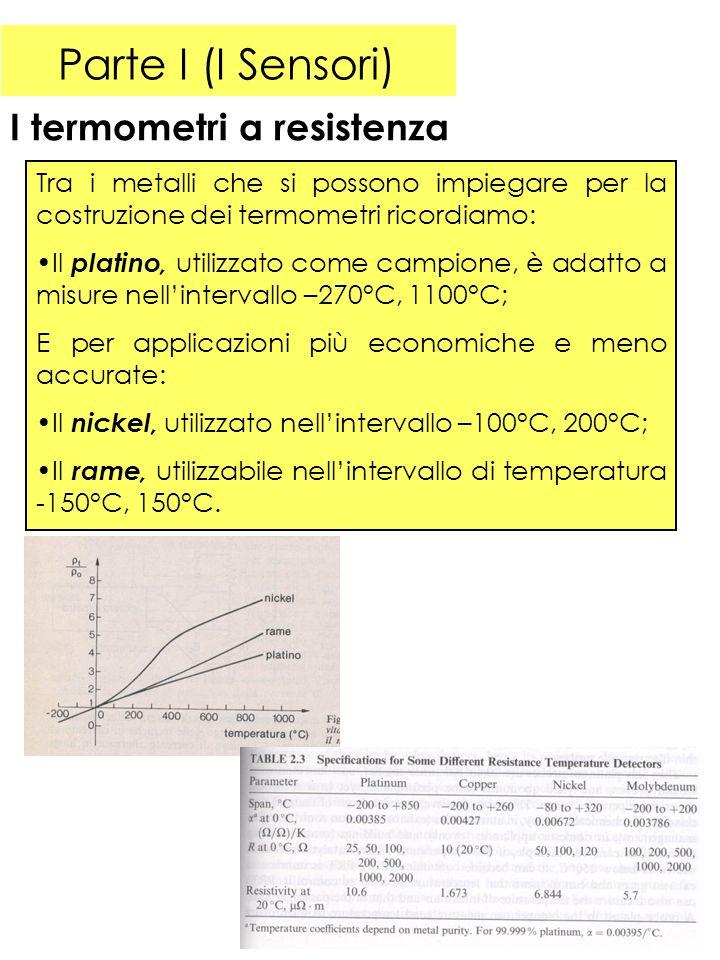 Parte I (I Sensori) I termometri a resistenza Tra i metalli che si possono impiegare per la costruzione dei termometri ricordiamo: Il platino, utilizzato come campione, è adatto a misure nellintervallo –270°C, 1100°C; E per applicazioni più economiche e meno accurate: Il nickel, utilizzato nellintervallo –100°C, 200°C; Il rame, utilizzabile nellintervallo di temperatura -150°C, 150°C.
