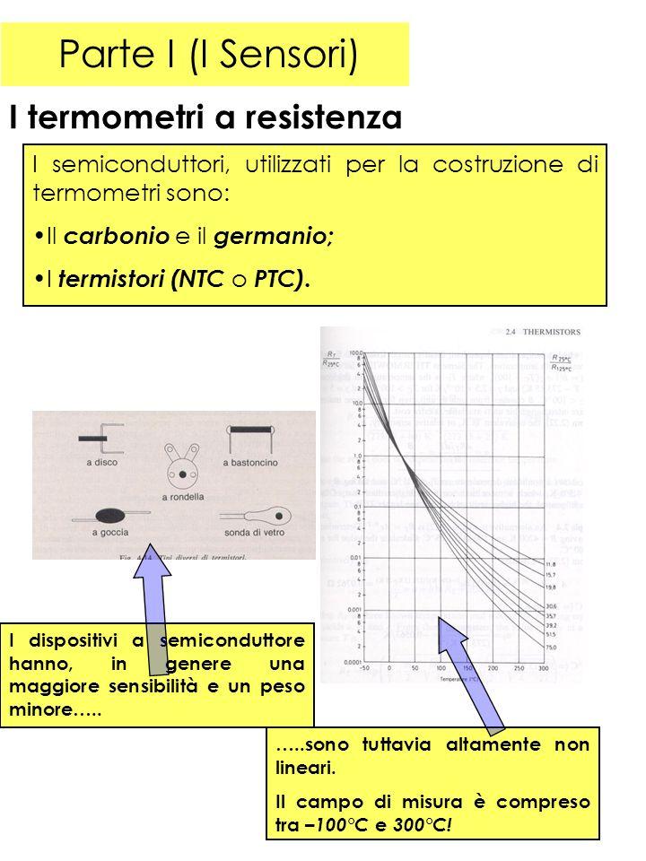 Parte I (I Sensori) I termometri a resistenza I semiconduttori, utilizzati per la costruzione di termometri sono: Il carbonio e il germanio; I termistori (NTC o PTC).